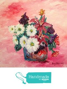 Daisy Flower Arrangement Original Acrylic Painting by Roxy Rich 14 x 14 from Chateau Roxy Art Boutique http://www.amazon.com/dp/B019BS3TZO/ref=hnd_sw_r_pi_dp_mHSEwb1V8WFYJ #handmadeatamazon