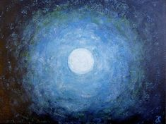 Original abstract painting of the full moon night by AnnaCullArt
