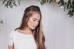 Rose gold, silver or gold Swarovski crystal wedding headband browband - Debbie Carlisle