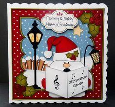 Card Gallery - 8x8 Christmas Carol Singing Snowball Sam 3D Decoupage