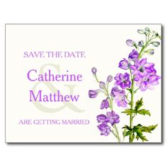 Delphinium art purple flower save the date card. Watercolor art and design by www.sarahtrett.com