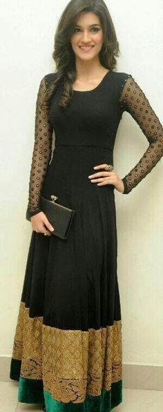 Plain but elegant black long anarkali gown http://www.makeupgenic.com/