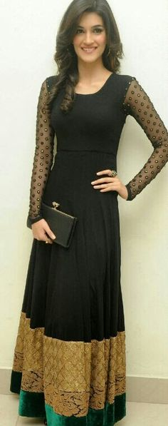 Plain but elegant black long anarkali gown