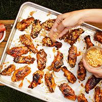 Apricot-Date Sticky Wings with Marcona Almonds. I like them even better with thighs.