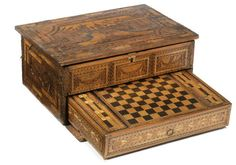 Work box with separate drawer decorated with coloured straw work incorporating a chess/draughts board. c.1800