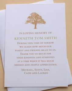 Sympathy Thank You Cards with a Strong Tree - Personalized - FLAT Cards - x Funeral Card Messages, Funeral Thank You Notes, Funeral Cards, Thank You Verses, Verses For Cards, Sympathy Thank You Cards, Free Thank You Cards, Funeral Memorial, Morning Greetings Quotes