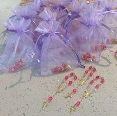 24 Mini Rosary Baptism 1st Communion Favor W/ Organza Bags Recuerdos  U CHOOSE…