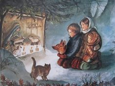 Afbeeldingsresultaat voor wie was Tasha Tudor. Christmas Illustration, Children's Book Illustration, Vintage Christmas Cards, Christmas Images, Christmas Nativity, Christmas Art, Tudor, Holy Night, Christen