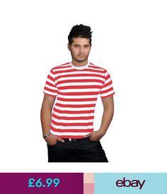 4b7b6492a845b T-Shirts Mens Boys Red And White Stripe T.Shirt Striped Fancy Top Dress