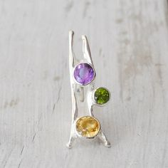 Large Sterling Silver Eccentric Ring Unique Big by SunSanJewelry Green Peridot, Purple Amethyst, Big Rings, Citrine Ring, Unique Rings, Statement Rings, Wearable Art, Gemstone Rings, Eccentric