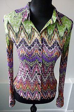 Alberto Makali NWT Vivid Multi-Color Pleated Shirt Size Medium Nordstrom $178.