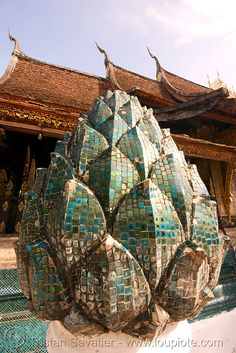 lotus flower mosaic sculpture in temple - luang prabang (laos), buddhist temple