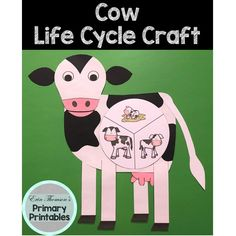 Craft includes: life cycle charts (with and without pictures) head ears body udder tail legs Elementary Science, Teaching Science, Science Activities, Elementary Schools, Cycle Pictures, Life Cycle Craft, Life Cycles, Farm Animals, Charts