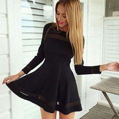 Damen Sexy Langarm Kleider Cocktail Minikleid Abendkleid Schwarz Partykleid Neu