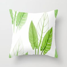 Large Lovely Leaves in Green Shades on White Background - Spring Summer Mood Throw Pillow by pivivikstrm Couch Pillows, Down Pillows, Floor Pillows, Pillow Sale, Designer Throw Pillows, Pillow Design, Shades Of Green, Home Buying, Pillow Inserts