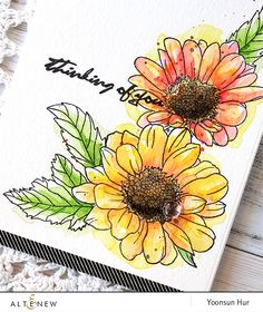 It's Yoonsun here to share a watercolor flower card using the so beautiful Spring Daisy stamp set. To start, I stamped the flowers and leaves from the Spring… Watercolor And Ink, Watercolor Flowers, Watercolor Paintings, Watercolors, Daisy Painting, Watercolor Portraits, Watercolor Landscape, Abstract Paintings, Altenew Cards