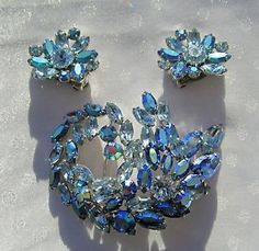 Vintage Signed Sherman Blue Rhinestone Brooch Matching Earrings | eBay