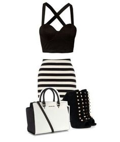 Strapy black crop top, with high waist black and white striped skirt, white  purse, and some rebel black heels. id switch out the heels for some  converse or ... bf10446024