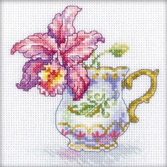 "Orchid Tea Party Counted Cross Stitch Kit-4.75""X4.75"" 14 Count"