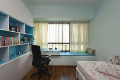 book shelves, bay windows and study table