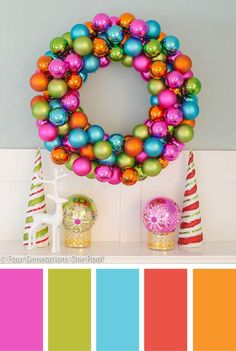 How to make a Christmas wreath using colorful ornaments christmas ornament wreath Christmas Ornament Wreath, Christmas Wreaths To Make, Christmas Crafts, Christmas Decorations, Christmas Vignette, Christmas Palette, Christmas Colour Schemes, Retro Christmas, Christmas Holidays