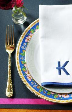 JUDITHPDESIGN // Dinnerwear Inspiration /// monogram napkin