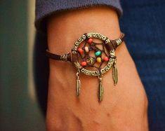 Dreamcatcher Deerskin Leather Bracelet. Tiny Heart Dream Catcher Bracelet: