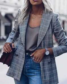 14 ways to wear a gray plaid blazer outfit and look up to date - Jacket Outfits