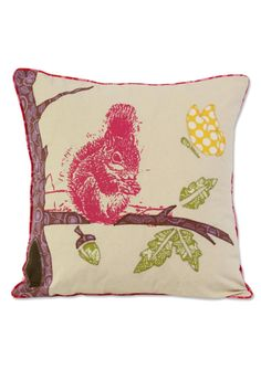 """This cushion cover creates a charming, natural scene by combining silk screen with applique remnant fabric from our fair trade workshop in Bali, all on a background of a natural washed heavy muslin. It closes with covered buttons in the back. which match the printed piping.100% cotton - hand or machine wash & dry, low temperature and gentle.    Dimensions: 18"""" x 18"""" (45 x 45 cm)   Applique Spring Squirrel Pillow by Zen Zen Garden Home . Home & Gifts - Home Decor - Pillows & Throws…"""