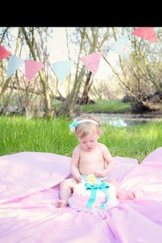 Smash cake--outside, on a pink sheet in the grass Happy First Birthday, Baby Birthday, First Birthdays, Cake Smash Photography, Photography Ideas, Picture Ideas, Photo Ideas, 1 Year Pictures, 1st Birthday Pictures