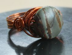 Adding this to my dream list. Jasper Stone, Red Jasper, Copper Jewelry, Jewlery, Gray Streaks, Casual Rings, Small Words, Handmade Rings, Holiday Jewelry