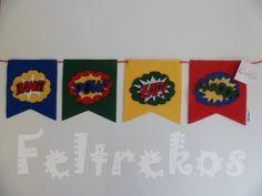 Bandeirola Decorativa em Feltro Super Heróis - Feltrekos