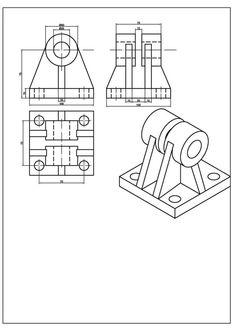 Teknik Resim Örnekleri / İzometrik Çizimler ve Görünüşleri | Makine Eğitimi Engineering Notes, Mechanical Engineering, Autocad Isometric Drawing, Orthographic Drawing, 3d Cad Models, Robot Arm, 3d Drawings, 3d Shapes, Technical Drawing