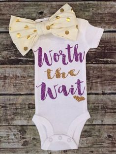 Worth The Wait Lavender and Gold Onesie - BellaPiccoli