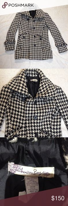 American Rag Hounds tooth Peacoat American Rag Pea coat black and white plaid (Hounds tooth print pattern) super nice has neck belt collar and waist belt button up super warm for fall and winter size medium warm fall winter jacket with satin lining American Rag Jackets & Coats Pea Coats
