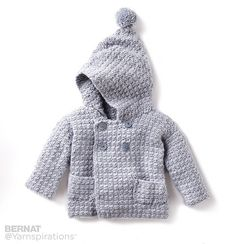 This double-breasted Bernat Softee Baby hoodie is topped with a sweet pompom and is made in a range of sizes. (Yarnspirations)