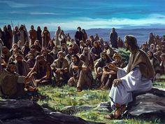 Jesus preaching by the ocean.