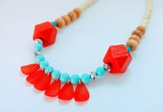 Turquoise Necklace, Red Necklace, Wooden Necklace, Boho-chic necklace, Bohemian Necklace, Statement Necklace, Gift for Her, Beaded Necklace