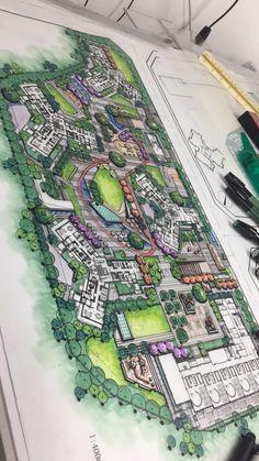 60 ideas landscaping architecture masterplan projects for 2020 Landscape Architecture Model, Landscape Architecture Drawing, Architecture Collage, Architecture Portfolio, Concept Architecture, Residential Architecture, Landscape Sketch, Architecture Graphics, Interior Architecture