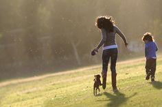 lady and dog