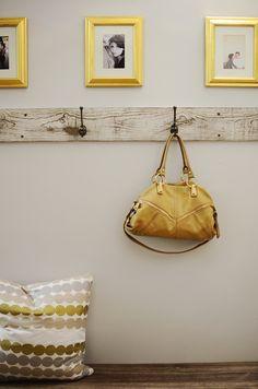 Brittany Makes - entrances/foyers - Benjamin Moore - Gray Owl - mud room, mudroom, mud room design, mudroom design, yellow and gray mud room...