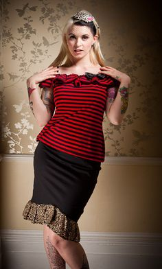 Stripe Pirate Ruffle Top Rockabilly Gothic Pirate by emeraldangel, $55.99