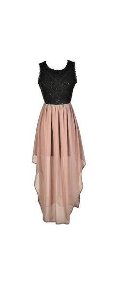 Shimmering Lights Embellished Lace Maxi Dress in Black/Dusty Pink  www.lilyboutique.com