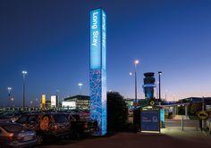 Christchurch International Airport External Wayfinding System   Best Awards Pylon Signage, Park Signage, Wayfinding Signage, Parking Design, Signage Design, Environmental Graphics, Environmental Design, Column Lights, Commercial Office Design