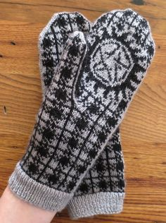 Free Knitting Pattern for Winchester Plaid Anti-Possession Mittens - Inspired by Supernatural, these mittens designed by Kat Lewinski sport a stylish plaid on top and anti-demonic possession protection on the palms.