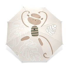 SUABO Ultralight Travel Umbrella Cute Cartoon Animal Monkey Pattern Ultraslim Windproof Compact Foldable Rain Umbrella *** Check out this great product.