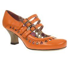Hush Puppies Womens Ladies Orange Leather Mid Heel Mary Jane Court Shoe Size 3