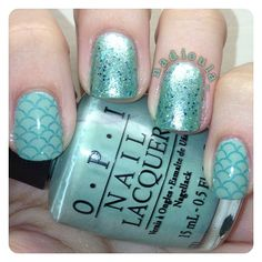OPI Mermaid's Tears stamped using Mash-39 in Orly Color Blast Brilliant Sky. Glitter is Urban Outfitters Sea Dust.