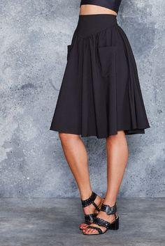 Black Yoke Midi Skirt