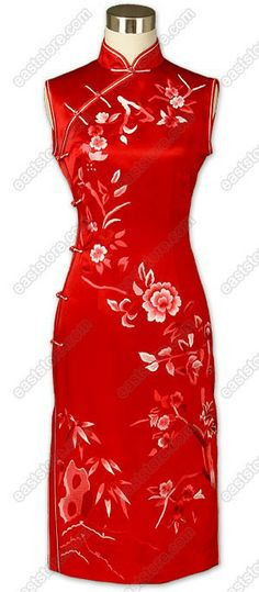 Mandarin collar.  Chinese treated buttons.  Sleeveless.  Double trimmed.  2 Side slits.  Floral Embroidered.  Fully lined.  Below knee Length.